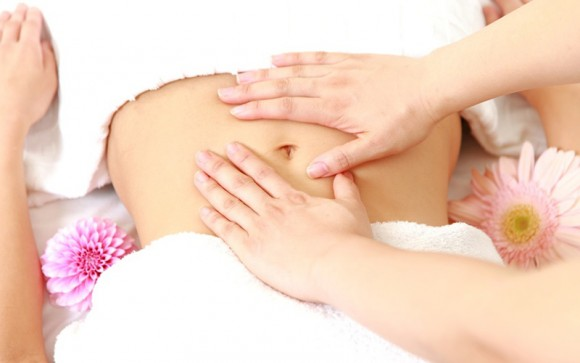 Lymph drainage massage for abdominal pain, swelling or post-surgery