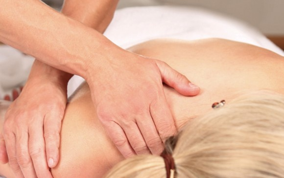 Deep tissue massage for shoulder pain.